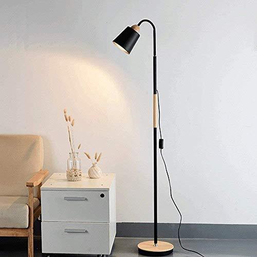 Lámpara de pie moderna Lámpara LED estándar 160cm * 25cm Altura de madera Base de lectura de Hierro Negro de cuello de cisne ajustable LED Lámpara de pie for el dormitorio (E27 Base de la lámpara, Neg