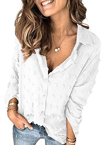 Sidefeel Womens Casual V Neck Polka Dot Pom Pom Buttom Down Shirt Solid Long Sleeve Chiffon Blouse Tops White Large
