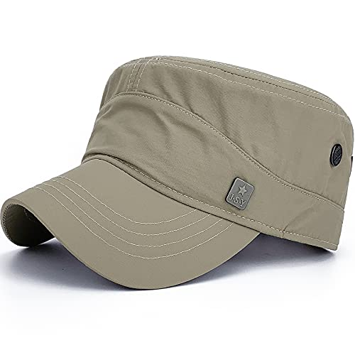 REDSHARKS Men Women Outdoor Sport Quick Dry Cadet Army Cap Adjustable Waterproof Military Hat Flat Top Baseball Sun Cap Khaki Beige Tan