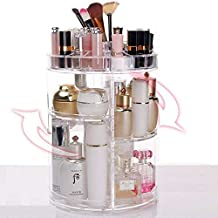 GR8BYZ ° Rotating Makeup Organiser, Organizer 360° Rotating Adjustable Cosmetic Holder 320 X 210 Mm. Acrylic Rotating 360 Degree Crystal Adjustable Jewelry Perfumes Display Stand Box For Bedroom