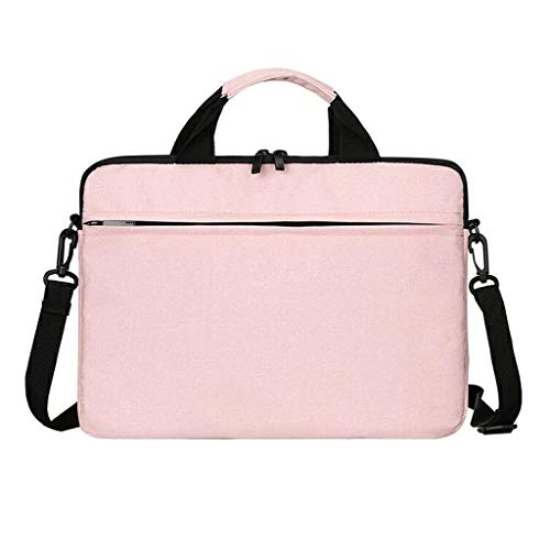 QIAOLI Laptop Bag Laptop Bag Borsa Impermeabile Laptop Sleeve Custodia con Tracolla e Maniglia Laptop Borsa Borsa a Tracolla per Uomini Donne Borsa a Tracolla (Colore: Rosa, Dimensioni: 14')