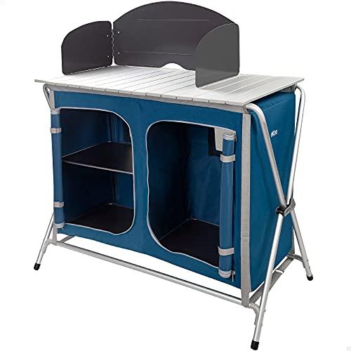 Aktive 52857 - Mueble plegable cocina, con paravientos, camping, jardín, dos compartimentos de organización, armario plegable doble, altura regulable, 88x51x81-111 cm, color azul marino