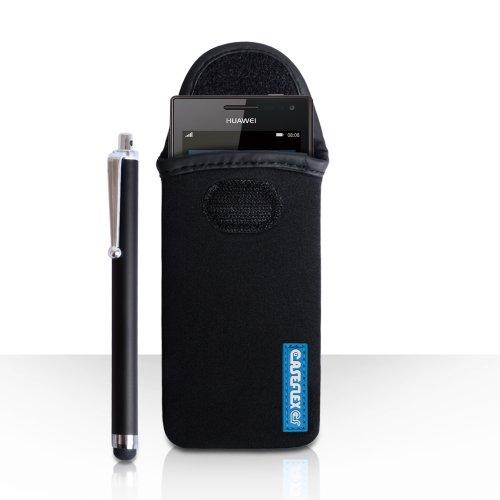Huawei Ascend W1 Zubehör Tasche Schwarz Neopren Beutel Hülle Und Griffel Stift Mit Caseflex Kompatibel Für Logo