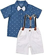 Toddler Baby Boys Gentleman Suits Kids Short Sleeve Outfits Bow Tie T-Shirt+Bib Short Pants Overalls Clothes Set (A# Blue, 2-3T)