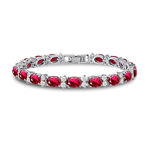KEZEF CZ Tennis Bracelet - Oval 7x5 Syn Red Ruby & Round 2.50mm White CZ - Silver Over Brass - 7 Inch