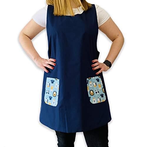 SuYa Shop Bata Maestra color Marino con bolsillos en Fauna, babi, educadora, cole (M)