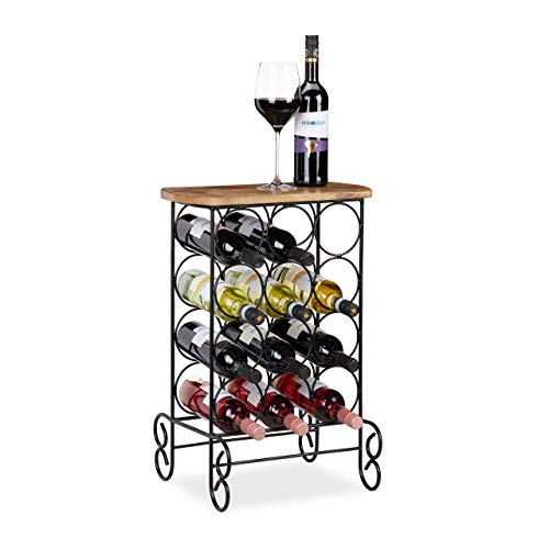 Relaxdays Botellero Vino y Mesa Auxiliar 12 Botellas, Hierro-Madera de Mango, Marrón-Negro, 64x46x37 cm