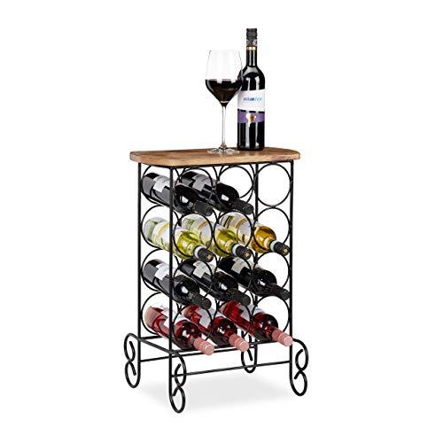 Relaxdays Wijnrek, 12 flessen wijn, design, 2in1 Wijnrek & dressoir, HBT: 64x46x37 cm, metaal & mangohout, natuur