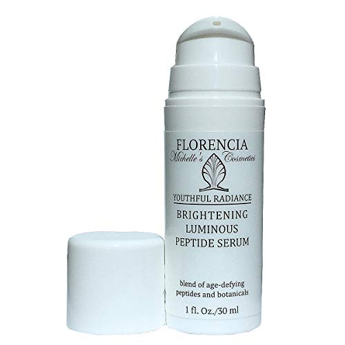 Florencia Brightening Luminous Peptide Serum, Blend of Age-Defying Peptides and Botanicals; Plumps, Firms, Reduces Wrinkles, Evens the Skin Tone1 oz