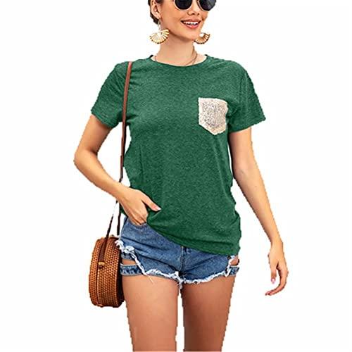 LYAZFC Camiseta con Lentejuelas de Costura de Manga Corta y Cuello Redondo de Color sólido de Primavera y Verano para Mujer