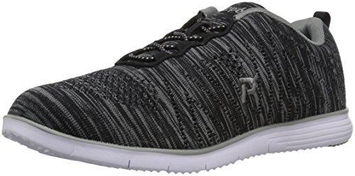Propet Women's TravelFit Walking Shoe, Black/Grey, 8.5 W US
