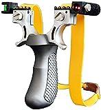 Azanaz Zwille Steinschleuder,Stahl Schleuder Katapult Steinschleuder Zwille Sportschleuder Mit Zwei Ersatzgummiband + 100 St. Rundkugeln