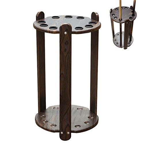 XBSXP Freestanding Pool Cues Racks,Wooden Billiard Cue Storage Rack, Snooker Rod, Accessories Supplies Billiard Table Rack, Holds 9 Ball Holders, 33x60cm, Brown, 33x60cm