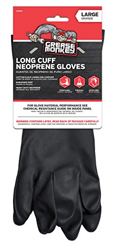 Grease Monkey Neoprene Long Cuff Gloves, Large, For washing dishes, cleaning cars, handling chemicals, or for extra grip