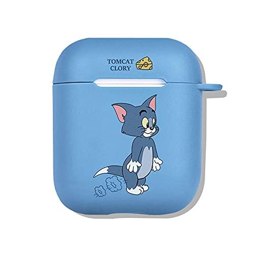 Chicya Funda de silicona para Airpods, diseño clásico de dibujos animados The Cat & Mouse Grind Arenaceous, funda protectora a prueba de golpes compatible con Airpods 1&2、Pro (Tom, Pro)