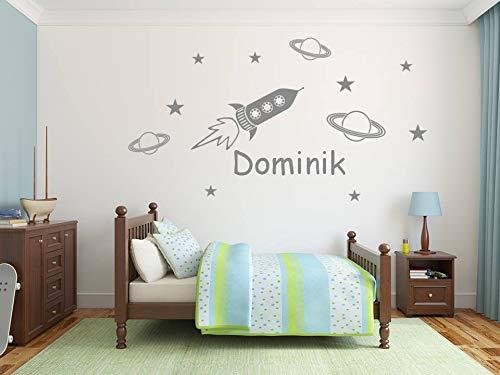 Personnalisé autocollant mural. Nom de l'enfant, fusée, planètes et étoiles. Sticker mural avec le nom d'un enfant. Fusées et étoiles - décoration murale. Décoration pour une chambre d'enfant.