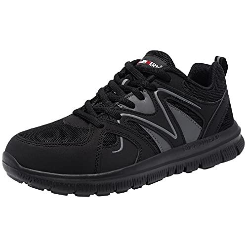 LARNMERN Zapatos de Seguridad Mujer Hombre Zapatillas de Seguridad Trabajo con Punta de Acero Cómodo Ligeros Transpirablesin Carbón Negro 41 EU