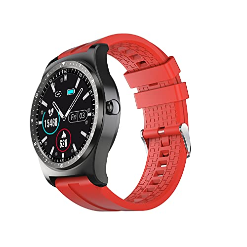 SmartWatch 2021 IP68 Impermeable Fitness Deportes Monitor de Ritmo cardíaco Smart Watch Men for Business Android iOS para Xiaomi, Monsteramy (Color : Red)
