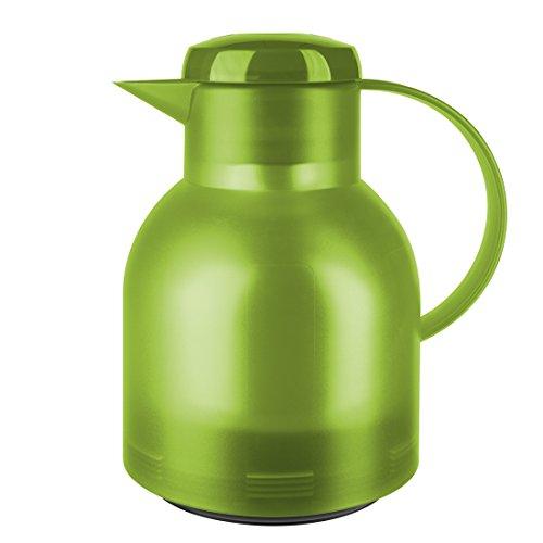 Emsa Samba Isolierkanne 505763 | 1 Liter | Quick Press Verschluss | 100% dicht | 12h heiß, 24h kalt | Hellgrün Transluzent