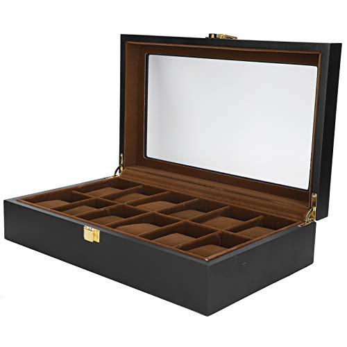 Vitrina de reloj de 12 ranuras, caja de presentación simple de madera clásica vintage para colección de relojes, organizador de almacenamiento de joyas
