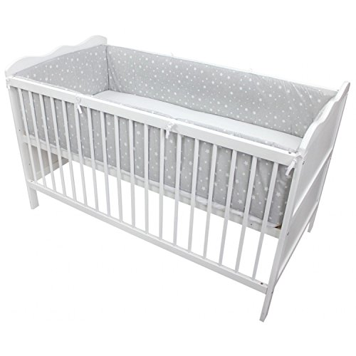 TupTam Babybett Bettumrandung Lang Gemustert, Farbe: Sternbild Grau/Weiß, Größe: 420x30cm (für Babybett 140x70)