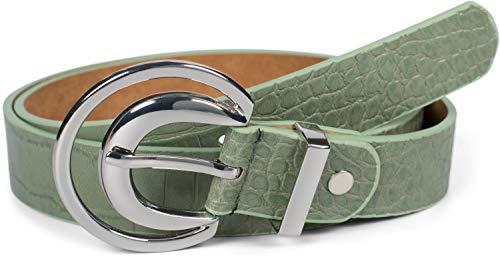 styleBREAKER Damen Gürtel Unifarben mit Oberfläche in Krokodilleder Optik und Halbmond förmiger Schließe, kürzbar 03010108, Größe:90cm, Farbe:Jadegrün