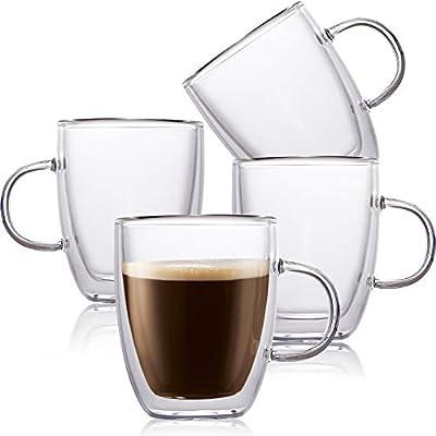 4 Pack Insulated Coffee Mug, Vivimee Glass Tea Mugs, Large(14oz, 400ml), Double Wall Glass Coffee Cups, Tea Cups, Latte Cups, Glass Coffee Mug, Latte Mug, Clear Mugs, Glass Cups, Glass Tea Mugs