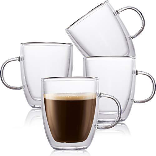 4 Pack Insulated Coffee Mug, Vivimee Glass Tea Mugs, Large(16oz, 500ml), Double Wall Glass Coffee Cups, Tea Cups, Latte Cups, Glass Coffee Mug, Latte Mug, Clear Mugs, Glass Cups, Glass Tea Mug