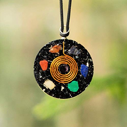 Black Tourmaline Orgone Pendant for Man and Women EMF Protection | Psychic Healing Orgonite Energy Generator | Better Sleep Crystal Pendant with Two Different Chains