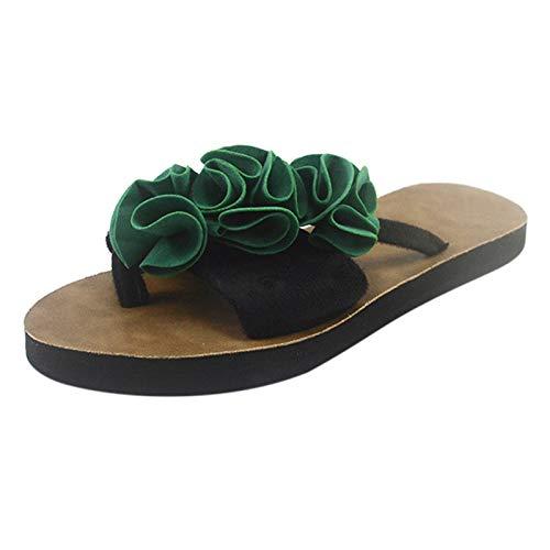 Xmiral Slipper Damen Flip-Flops Sandalen Blumen Schuhe Home Outdoor Strand Slippers(36,a-Grün)