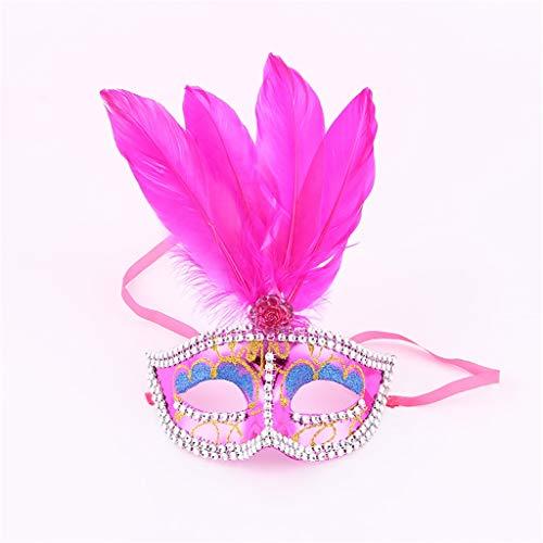 JGBHPNYX Masker voor het gezicht van kinderen, volwassenen, veren-masker, bal, verjaardag, Halloween