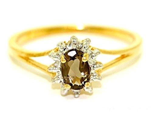 Junio Birthstone anillo de cuarzo ahumado en oro amarillo de 14 K o oro blanco de 14 K