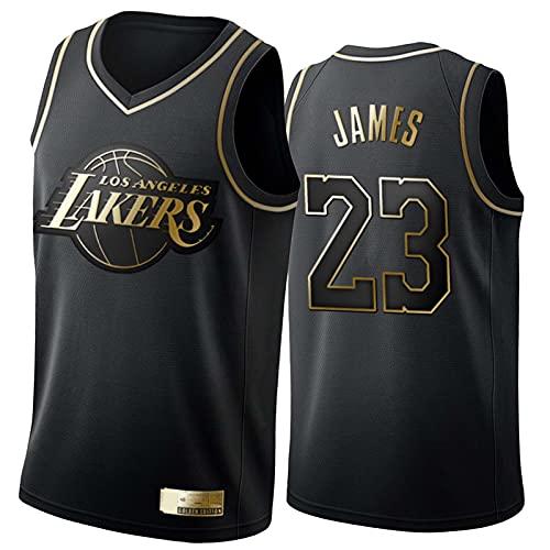 PPPU Los Angeles Lakers Lebron James Basketball Trikot #23 Herren, Black Mamba Stickerei Swingman Jersey, Mesh Breathable Ärmellose Black Gold Edition Basketball Jersey Tops Black Gold-XL