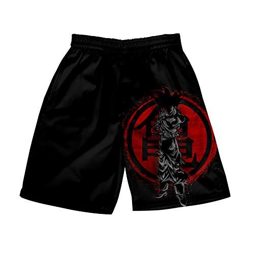 AMOMA Herren Freizeit Strandhose Anime Naruto Dragon Ball Digitaldruck Bademantel Kurze Shorts(M,Color19)