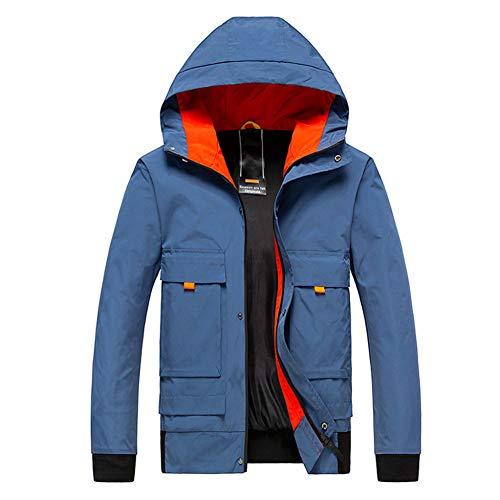 SHANGYI Jas Herenjas Winter Trench Jas Herenjas Herenherfst en Winter Mode Patchwork Hoodie Rits Outdoor Sport Casual Jas