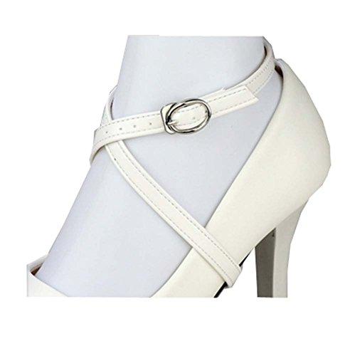 Accessoires de lacets anti-lâches à talons hauts pour femmes, amovibles (blanc)