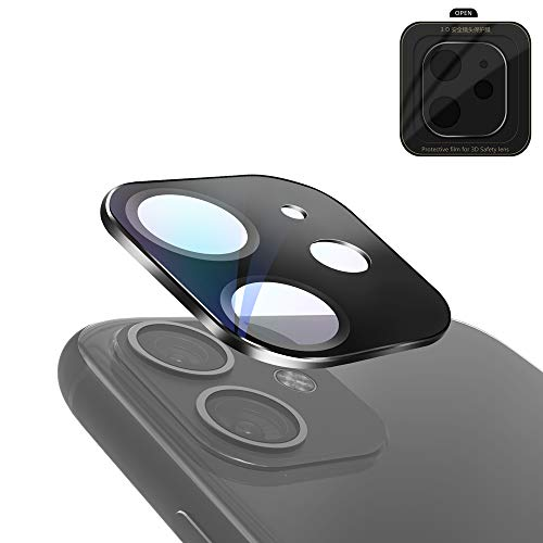 Ealilis Camera Lens Screen Protector for iPhone 11 (6.1 Inch), 3D Metal Full Cover Protection Tempered Glass Armor High Definition Clear Film - Anti-Scratch/Dust/Water/Fog (Black)
