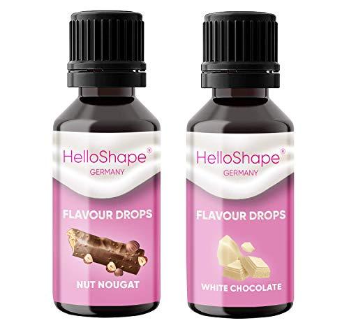 Flavour Drops zuckerfrei Set 2x 30 ml - Nuss Nougat & Weiße Schokolade | Geschmackstropfen OHNE KALORIEN zum Süßen mit Dosierhilfe | vegan | Für Naturjoghurt, Porridge oder Quark - Hello Shape