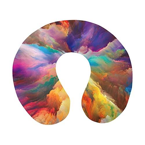 Fantasy Abstract Decor Rainbow Colorful Burst Clouds Almohada de Viaje Espuma de Memoria Avión Cómoda Almohada para el Cuello en Forma de U para avión, Coche, Oficina, Dormir