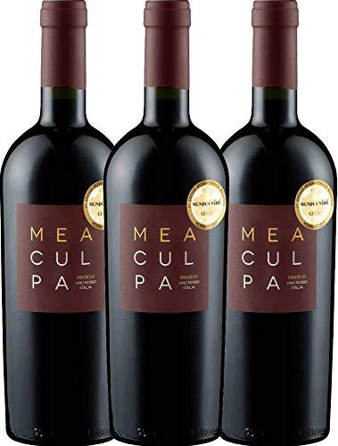 VINELLO 3er Weinpaket Rotwein - MEA CULPA Vino Rosso Italia - Cantine Minini mit Weinausgießer | halbtrockener Rotwein | italienischer Wein aus Apulien und Sizilien | 3 x 0,75 Liter