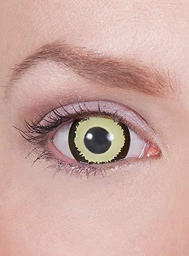 Maskworld - Mini-Sclera gelb-schwarz-- farbige Kontaktlinsen / 6-Monats-Linsen (17mm) - Motivlinsen ohne Sehstärke - Unisex - Erwachsene - ideal für Halloween, Karneval, Motto- und Horror-Party