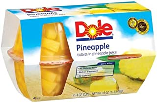 Dole Pineapple Fruit Bowl Tidbits in 100% Pineapple Juice 4 - 4 oz cups (Pack of 6)