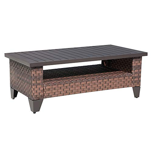 SUNSITT Outdoor Wicker Coffee Table with Waterproof Cover, Brown Synthetic Rattan Wicker Patio Table with Slat Top