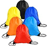 Mrytiuoperg 6 Pieces Drawstring Tote Bag Cinch Gym Bags Storage Backpack