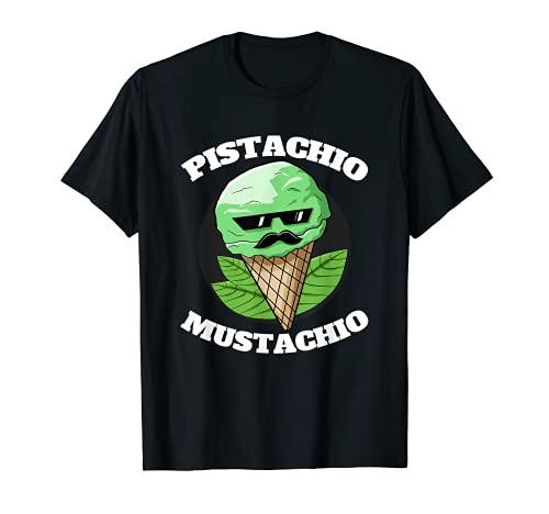 Pistacho Bigote Helado Divertido Bigote Pistacho Día Camiseta