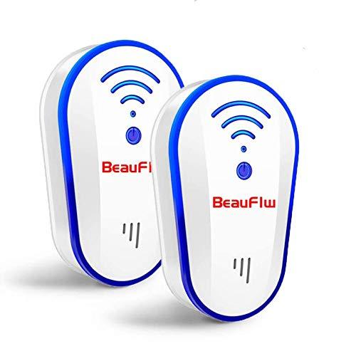 BeauFlw 2020強化版 害虫駆除機 ネズミ撃退器 超音波式 蚊取り ノミ ハエ ダニ シロアリ ハチ クモ対策器 コウモリなどに対応(2個)