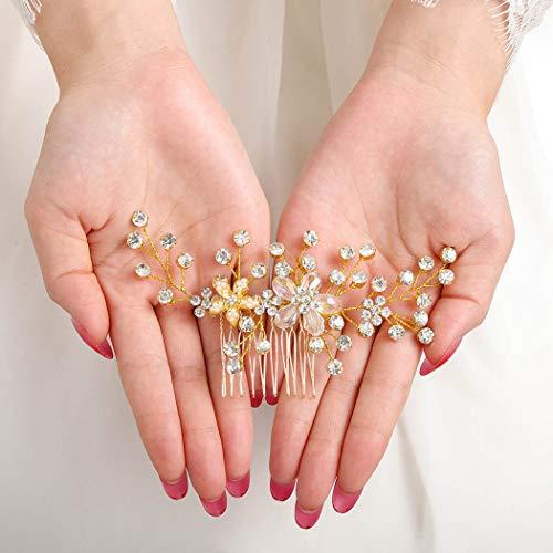 IYOU Peine para el cabello nupcial con cristales brillantes Flor dorada Pieza...