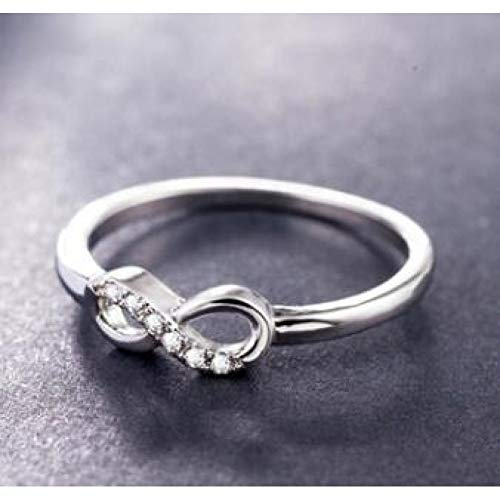 CTDMMJ Joyas de Plata Crystal Infinity Endless Love Shape Anillos de Boda para MujeresJoyas