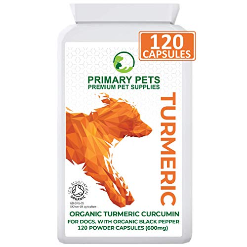 Organic Turmeric for Dogs with Curcumin. Pack of 120 600mg Powder Capsules. Hip and Joint Supplement for Dogs. With Organic Black Pepper Extract. 12,000mg Equivalent