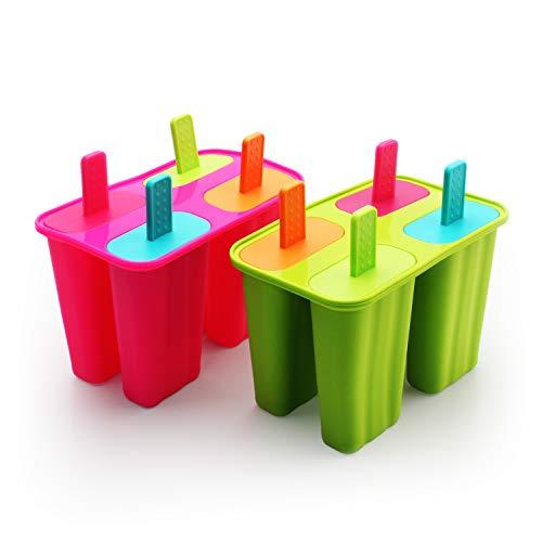 DEHUB Eisformen Silikon, Popsicle Formen Set,BPA Frei EIS am stiel Formen FDA-Zertifiziert Lebensmittelqualität Silikon-EIS-Pop-Hersteller,Ice Lolly Mold mit Sticks und Tropfschutz(Grün+Rosenrot,)